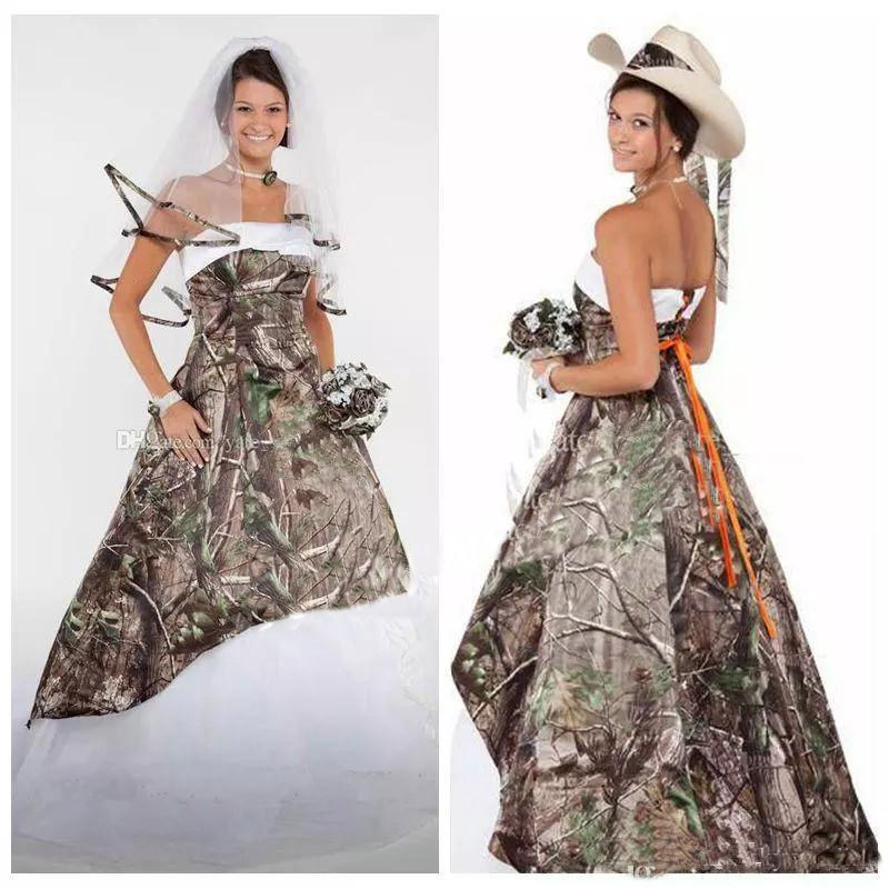 us 1480 20 off2019 camo wedding dresses satin country cowgirls bridal dresses sweep train plus size camouflage wedding dresses corset lace up in Camo Wedding Dresses Pictures