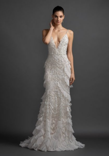 v neck embroidered wedding dress with ruffles Lazaro Wedding Dress