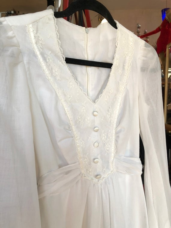 vintage off white gunnysack wedding dress small Gunny Sack Wedding Dress