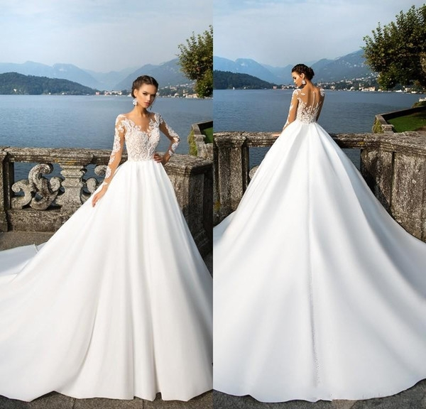 discount 2018 vintage wedding dresses sheer long sleeves lace appliqued button back satin wedding gowns women country western bridal gowns mn red and Vintage Wedding Dresses Mn