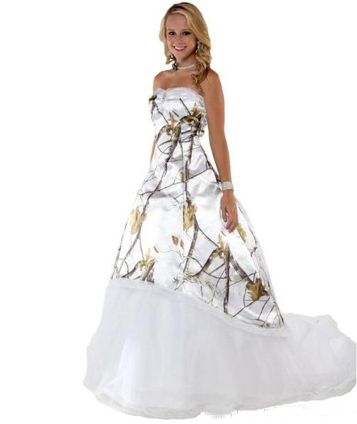 discount fashion white camo wedding dresses with tulle skirt realtree camouflage bridal dresses sweep train wedding gowns 2019 vestidos ve novia Realtree Camouflage Wedding Dresses