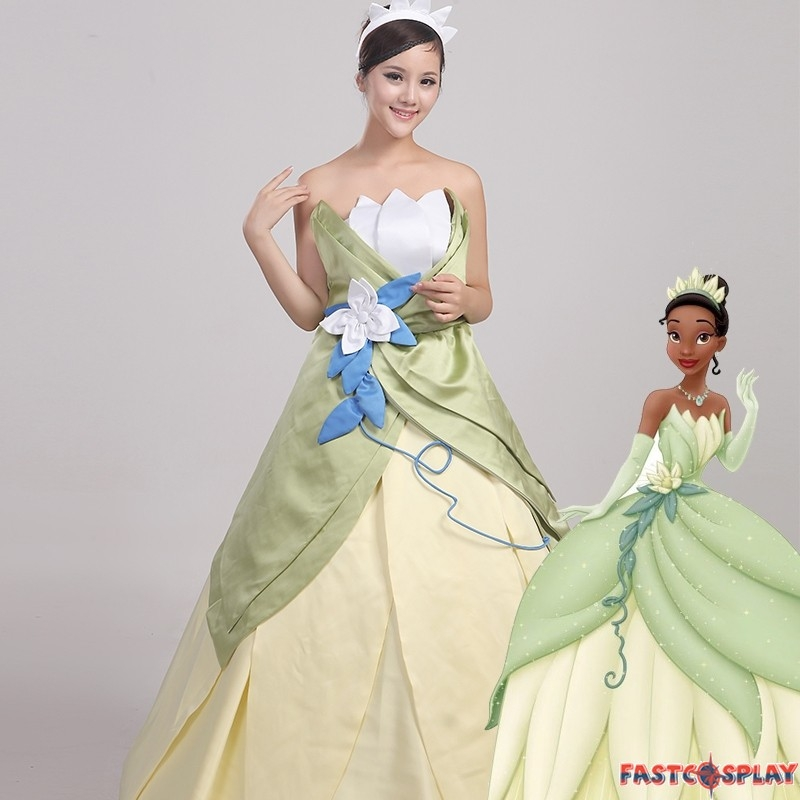 disney the princess and the frog tiana princess dress cosplay costume Princess Tiana Wedding Dress