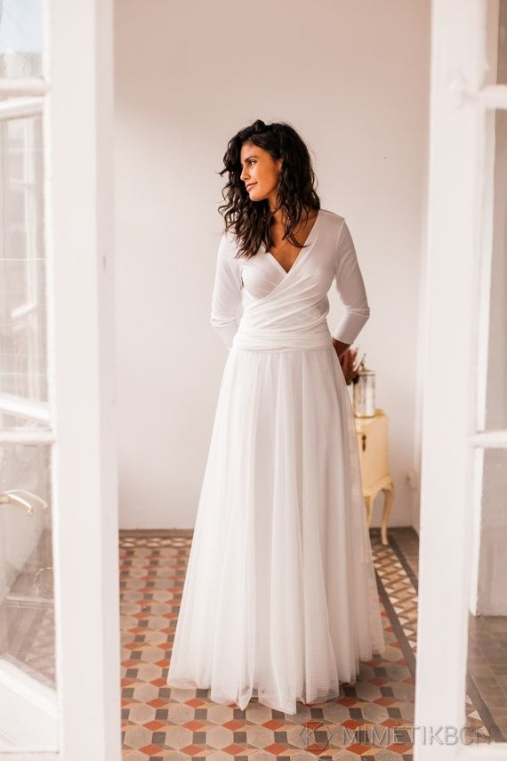 dotted swiss wedding gown with sleeves long wedding gown Dotted Swiss Wedding Dress