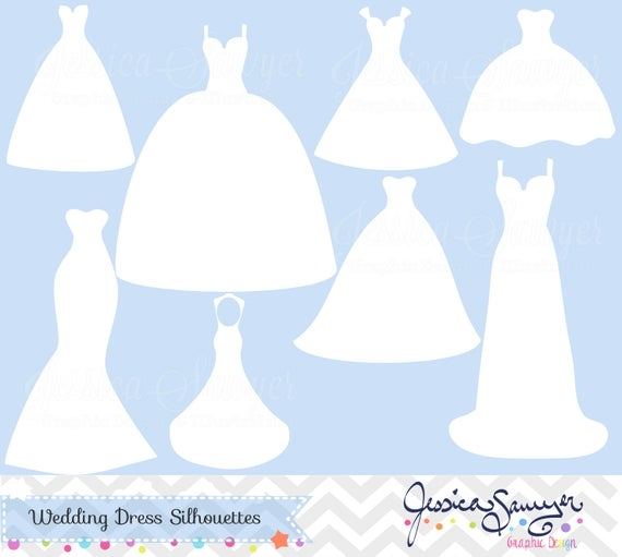 instant download white wedding dress clipart silhouette clipart for greeting cards announcements scrapbooking Wedding Dress Clipart