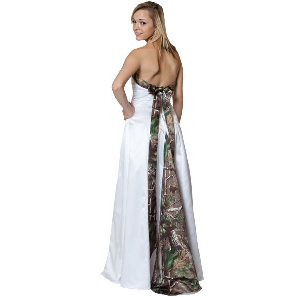 realtree camo wedding gown with streamer sash and train Realtree Camouflage Wedding Dresses