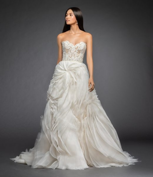 strapless a line wedding dress with lace bodice and tufted organza and tulle skirt Lazaro Lace Wedding Dresses