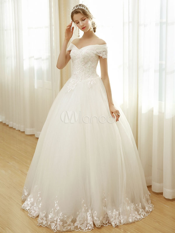 wedding dresses off the shoulder bridal dress lace embroidered beading floor length wedding gown Www.Milanoo.Com Wedding Dresses