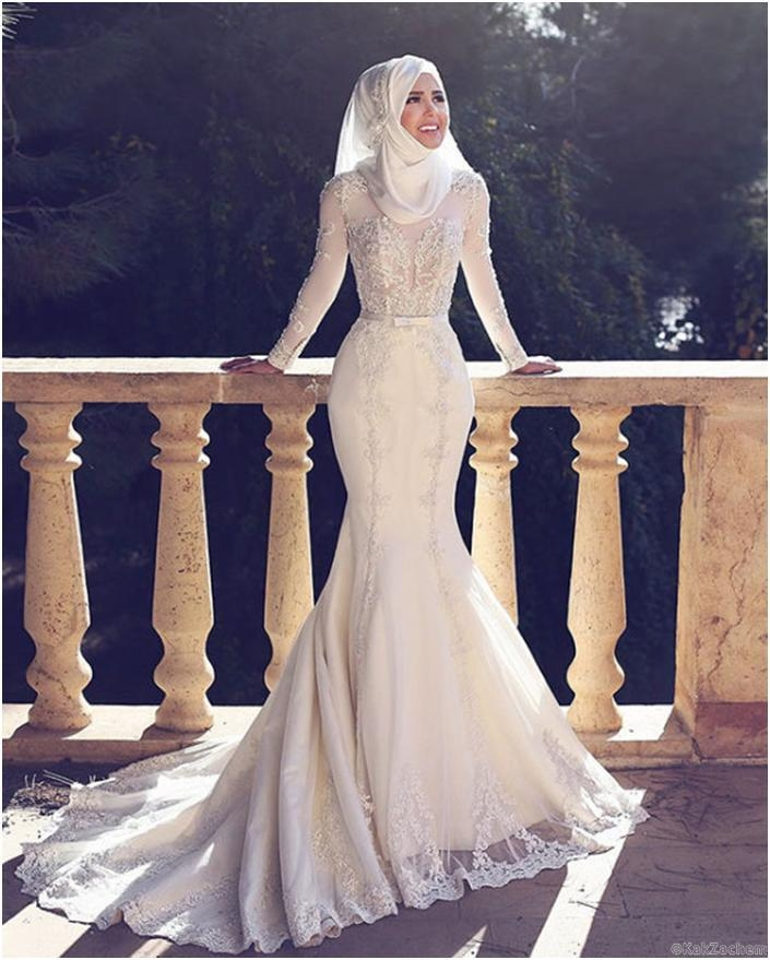 2018 muslim pakistan middle east wedding dresses high neck white applique lace long sleeved bridal wedding gowns Middle Eastern Wedding Dresses