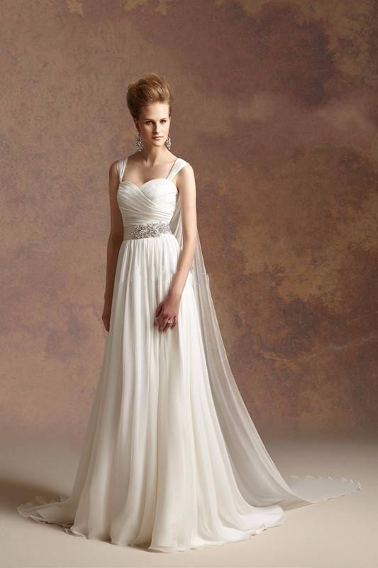 2019 hot sale greek goddess a line chiffon beach wedding dresses simple cheap with beaded sash detachable straps bridal gowns Grecian Goddess Wedding Dress
