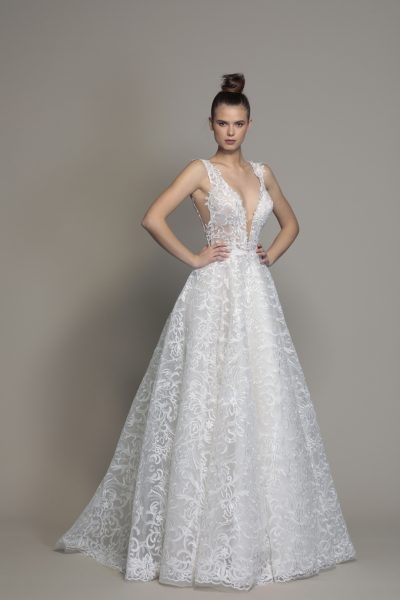 a line sleeveless lace wedding dress Wedding Dresses By Pnina Tornai