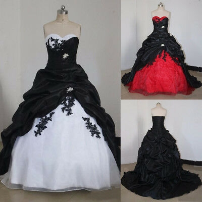 black and white gothic wedding dresses vintage sweetheart appliques bridal gowns ebay Black And White Gothic Wedding Dresses