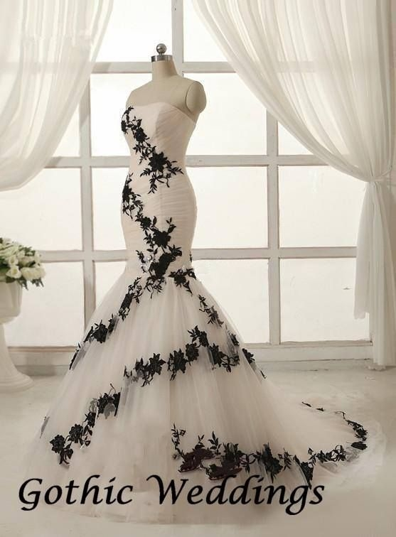black and white wedding gown found on gothic weddings Black And White Gothic Wedding Dresses