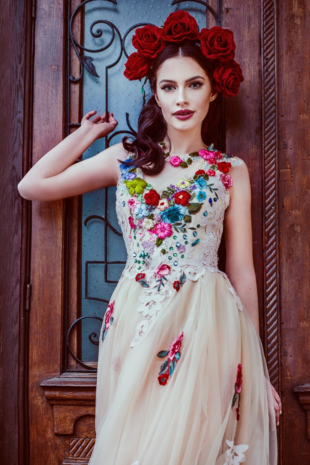 boldly boho embroidered wedding dresses with colourful Mexican Embroidered Wedding Dress