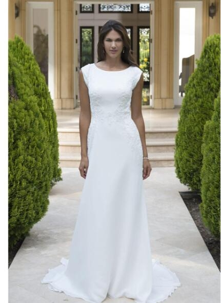 chiffon long modest lds wedding dress with short sleeves lace appliques embellished waist buttons over zipper back simple bridal gowns from misszhu Modest Lds Wedding Dresses