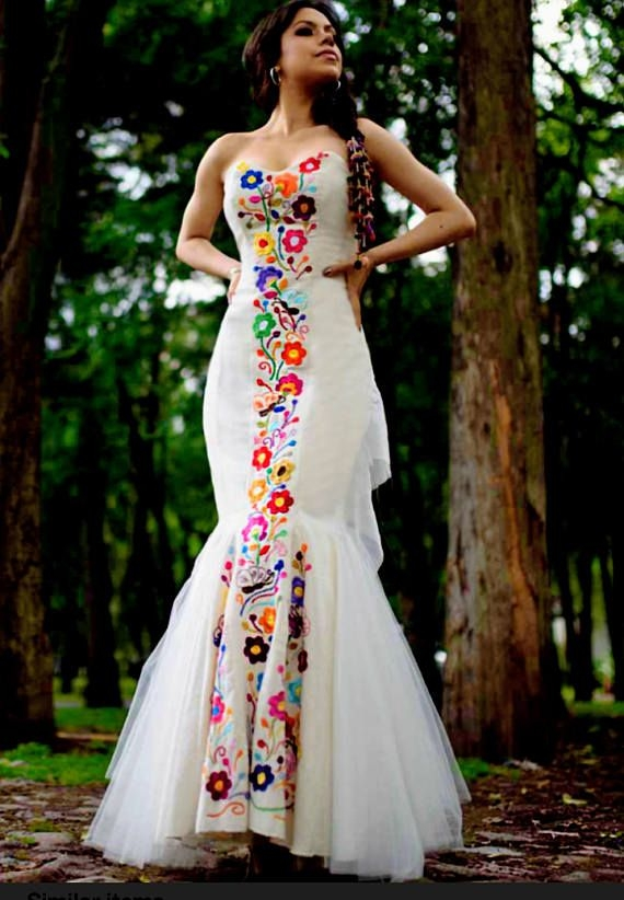 custom made mexican wedding dress embroidered dres for Mexican Embroidered Wedding Dress