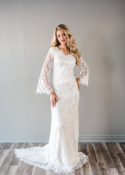 discount 2019 new vintage sheath lace modest wedding dresses with long sleeves scoop neck buttons back lds bridal gown temple vintage wedding gown Modest Lds Wedding Dresses