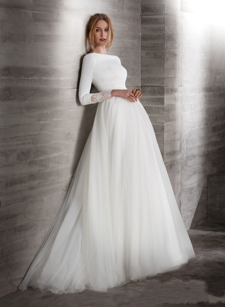 discount a line crepe tulle modest wedding dresses with long sleeves boat neck covered back simple country modest brdial gowns lds wedding gown photos Modest Lds Wedding Dresses