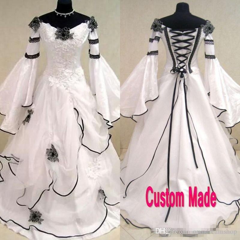 discount vintage black and white gothic wedding dress 2018 scoop off the shoulder celtic bridal gowns zipper up corset handmade flowers sweep train Black And White Gothic Wedding Dresses