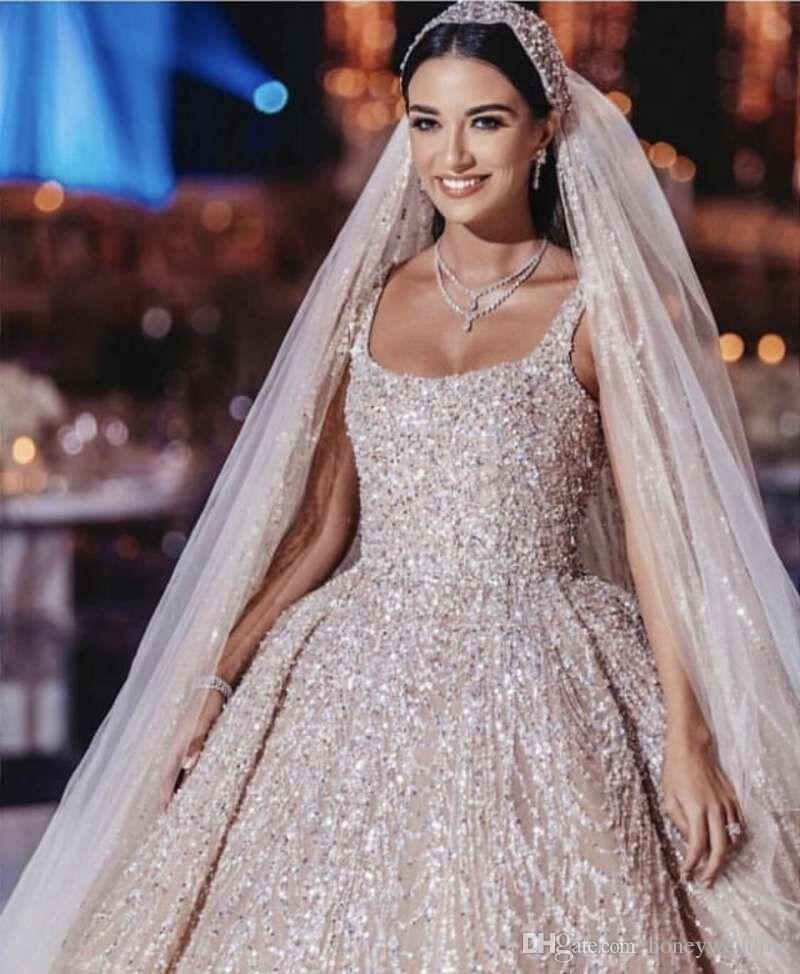luxurious saudi arabic wedding dress crystal beaded middle eastern wedding dresses crystal vintage with pearls head piece bridal gowns best ball gown Middle Eastern Wedding Dresses