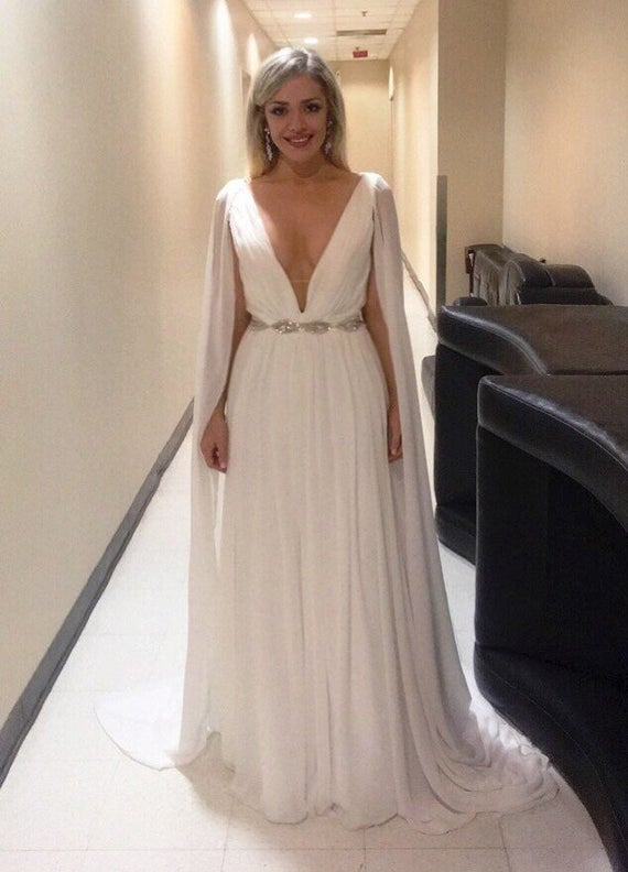 plunging grecian goddess wedding dress classic bridal gown pleated bride style elegant v neck sleeveless wedding modern bride serena Grecian Goddess Wedding Dress