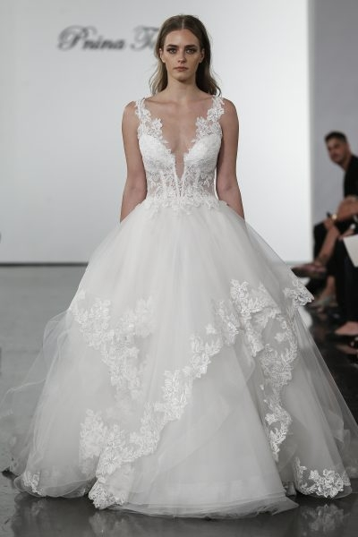 plunging v neckline layered tulle skirt ball gown wedding dress Wedding Dresses By Pnina Tornai