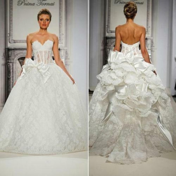 pnina tornai lace bow princess ball gown Wedding Dresses By Pnina Tornai