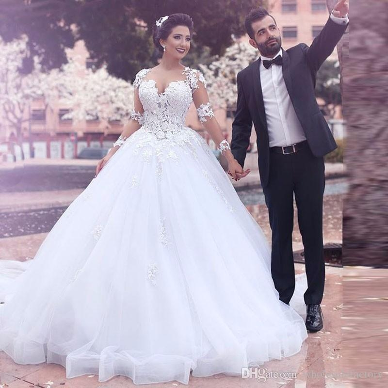 saudi arabic middle east ball gown wedding dresses sheer jewel long sleeves lace appliques backless long vestidos bridal gowns gowns wedding dresses Middle Eastern Wedding Dresses