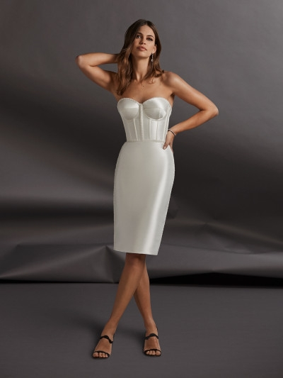 short wedding dress with corset and pencil skirt pronovias Pronovias Short Wedding Dress