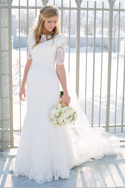 stunning lace sleeves and illusion neckline modest wedding Modest Lds Wedding Dresses