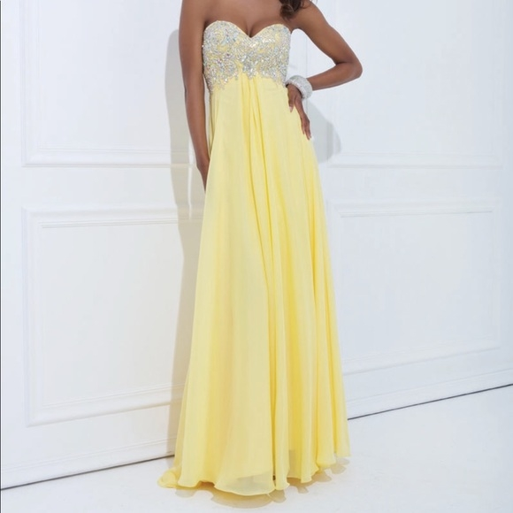 tony bowls le gala yellow prom dress with jewels Tony Bowls Wedding Dresses