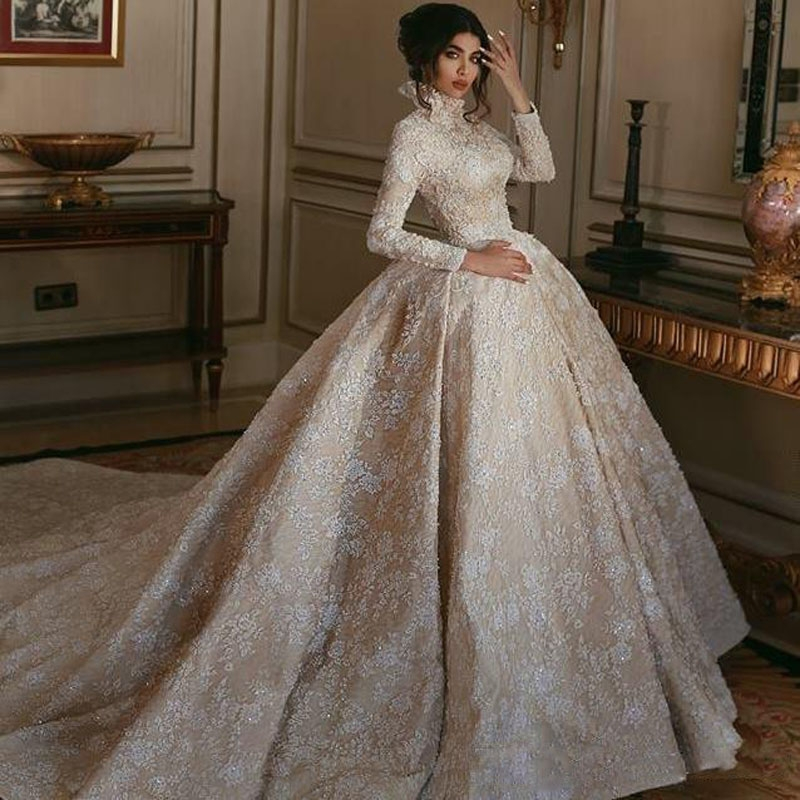 us 25721 11 off2019 luxury high neck champagne middle east wedding dress white lace appliqued long sleeves arabic bridal gowns court train in Middle Eastern Wedding Dresses