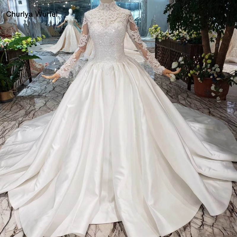 us 49823 52 offhtl211 satin muslim wedding dresses high neck long sleeves middle eastern style wedding gowns cheap sparkly reflective dress in Middle Eastern Wedding Dresses