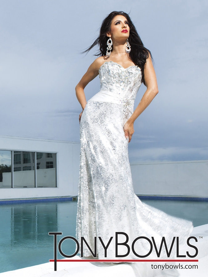 white and silver tony bowls prom gown 11217 Tony Bowls Wedding Dresses