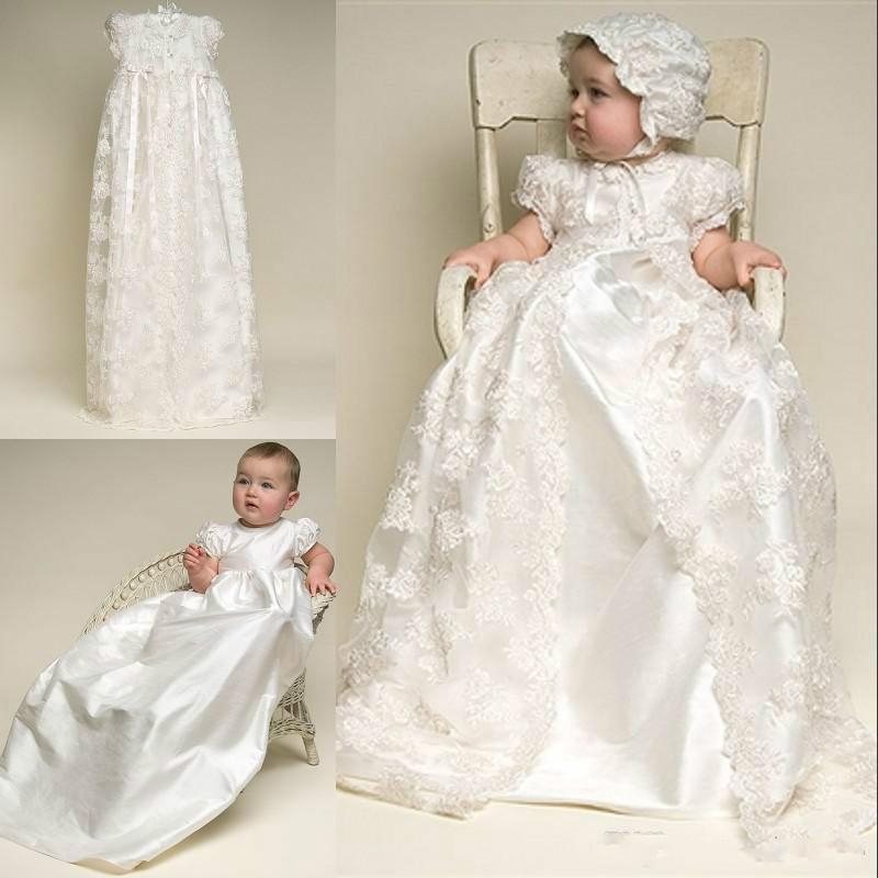 2019 christening dresses lovely high quality taffeta baptism gown lace jacket christening dresses with bonnet for ba girls and boys flower girl Christening Gown From Wedding Dress