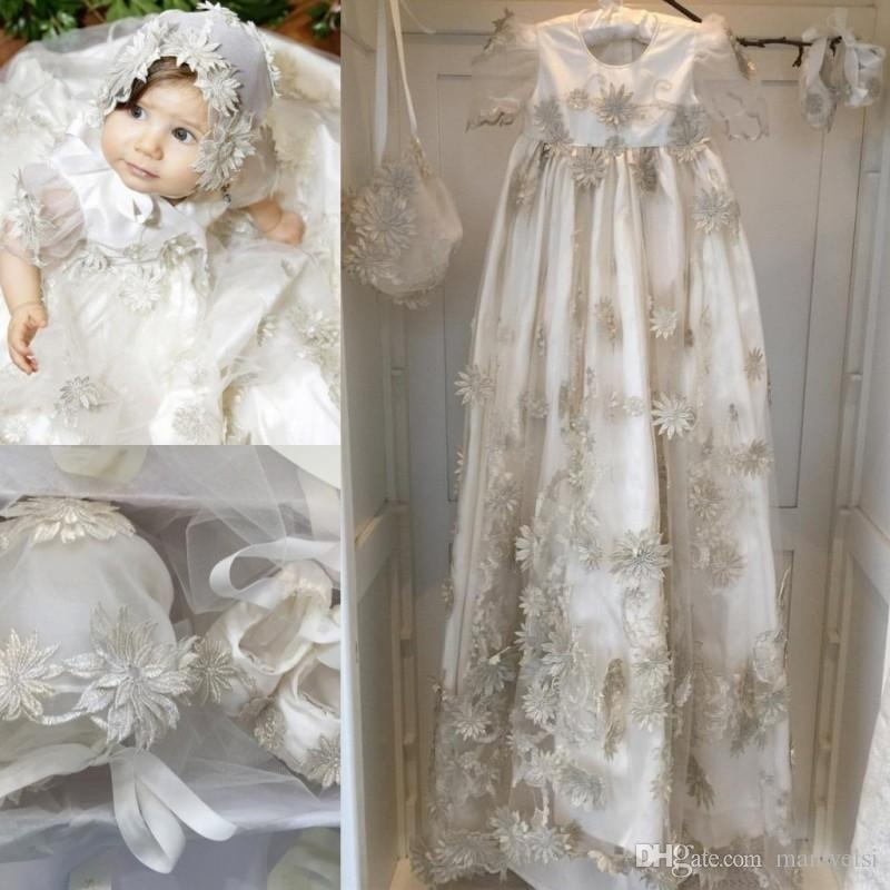 2019 new arrival christening gowns for ba girls beads appliqued a line soft baptism dresses with bonnet first communication dress ba clothes girl Christening Gown From Wedding Dress