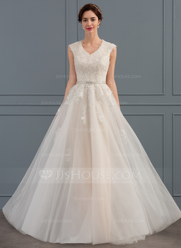 a line v neck sweep train tulle wedding dress with beading sequins bows 002134397 Jjshouse Wedding Dresses