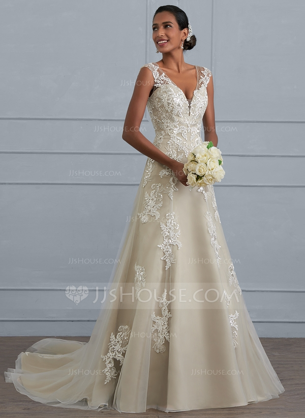 a lineprincess v neck court train tulle lace wedding dress with beading sequins 002117023 Jjshouse Wedding Dresses