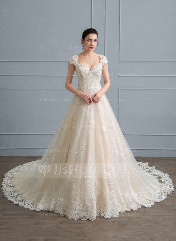 ball gown sweetheart cathedral train tulle lace wedding dress with beading sequins 002111947 Jjshouse Wedding Dresses