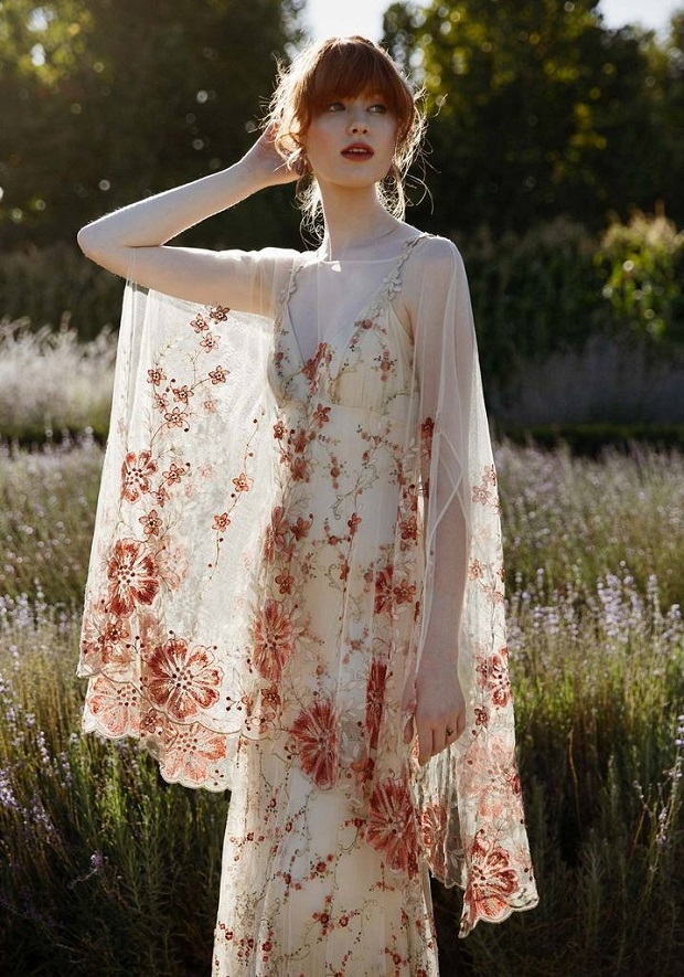 boldly boho embroidered wedding dresses with colourful Peasant Style Wedding Dresses