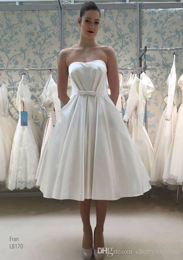discount strapless satin 50s style wedding gown with pockets bridal gowns short wedding dresses wedding dresses cheap sw0031 wedding dresses fitted Fifties Style Wedding Dresses