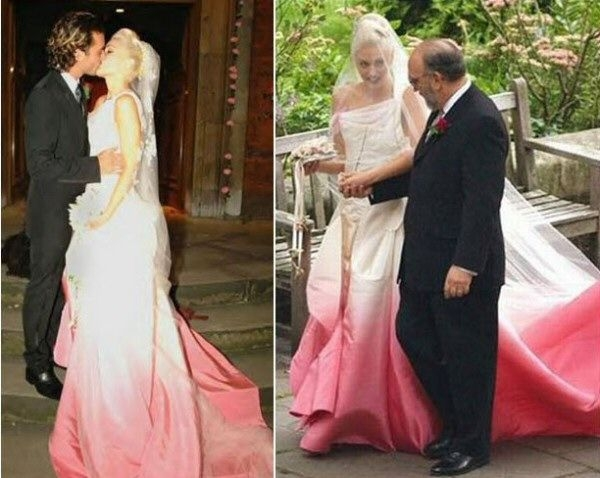 gwen stefani in her white and pink ombre wedding dress Gwen Stefanis Wedding Dress