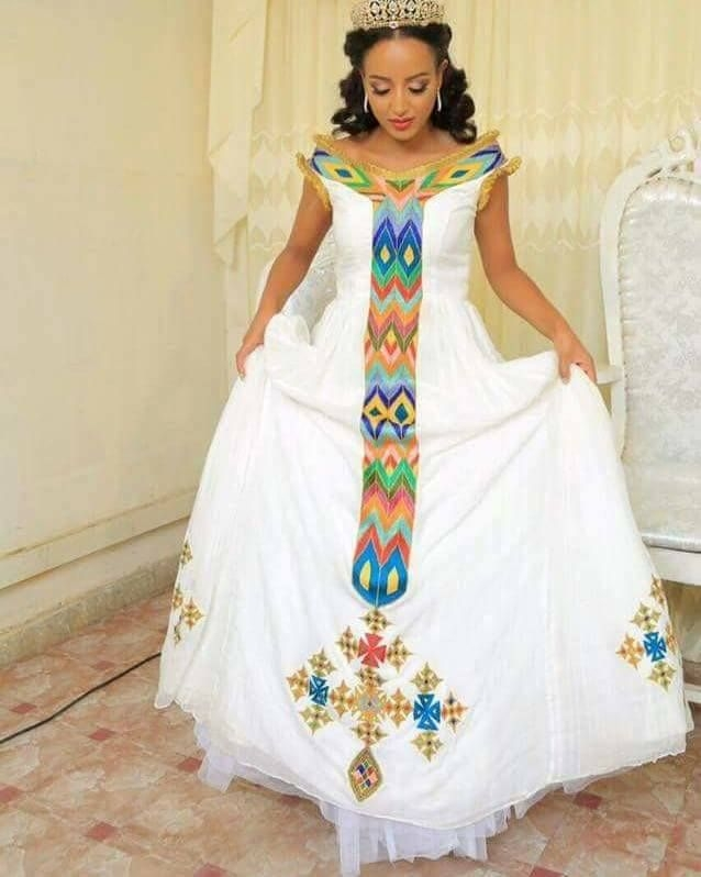 meseret mebrate wearing habesha kemis in her wedding Habesha Wedding Dresses