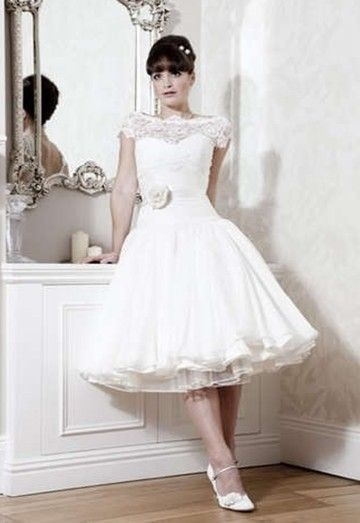 poofy dress tea length pastel short sleeves tea length Short Poofy Wedding Dresses