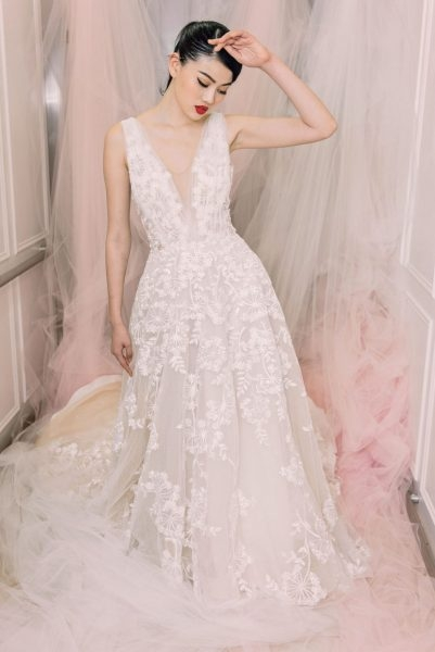 sleeveless v neck beaded and embroidered lace wedding dress Michelle Roth Wedding Dresses