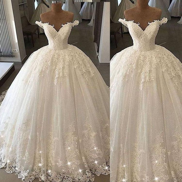 sparkly ball gown wedding dresses puffy off shoulder short Short Poofy Wedding Dresses