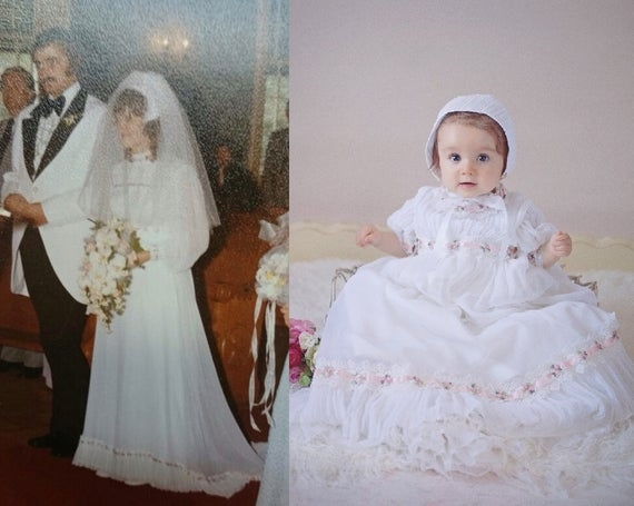 wedding dress to christening or baptism gown conversion custom order Christening Gown From Wedding Dress