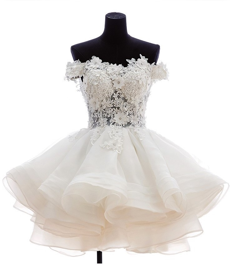 white short lace off the shoulder organza wedding dress uniqistic Short Poofy Wedding Dresses