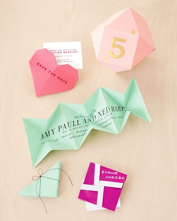 15 quirky wedding invitations to inspire you the good Origami Wedding Invitations