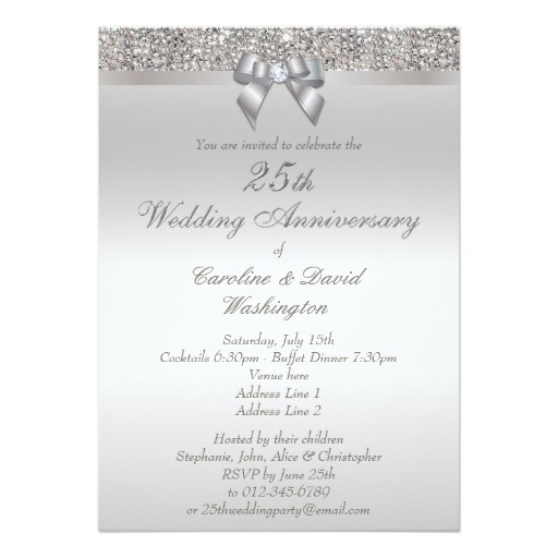 25th silver wedding anniversary faux sequins bow invitation 25th Silver Wedding Anniversary Invitations