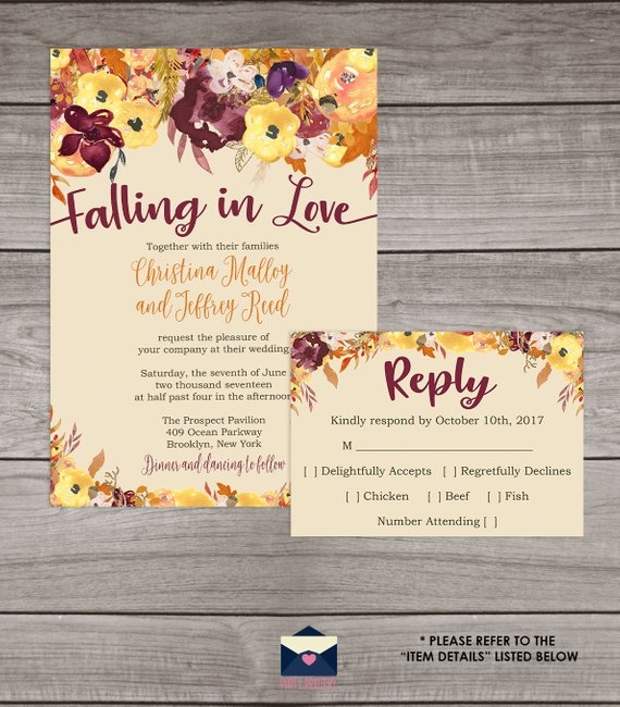 40 fall wedding invitations from etsy for your autumnal Fall Wedding Invite